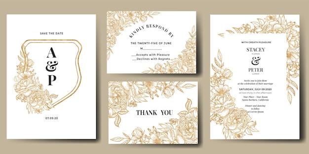 Invitation De Mariage Sertie D'or De Fleur D'art En Ligne Vecteur gratuit