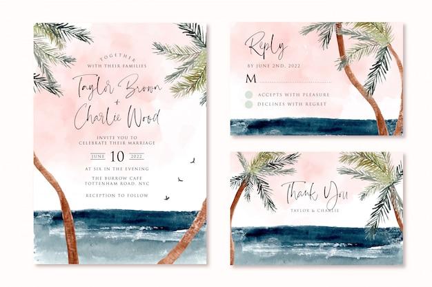 Invitation De Mariage Sertie De Paysage Aquarelle De Palmier Tropical Plage Vecteur Premium