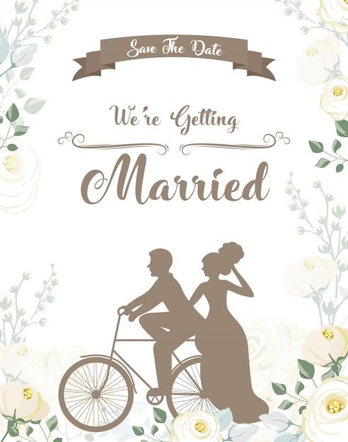 Invitation de mariage simple et belle Vecteur Premium