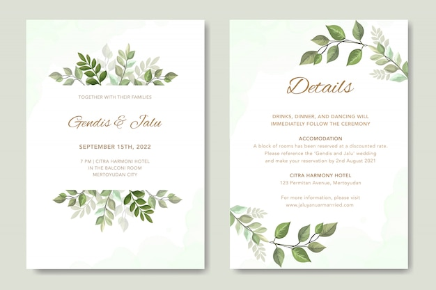 Invitation de mariage simple avec vecteur de feuilles Vecteur Premium