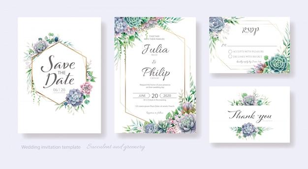Invitation De Mariage Succulente Et De Verdure, Réservez La Date, Merci, Modèle De Carte Rsvp. Vecteur Premium