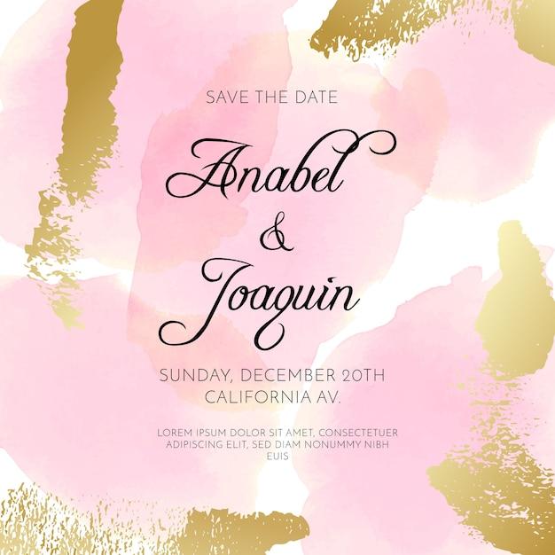 Invitation De Mariage Avec Des Taches D'aquarelle Vecteur gratuit
