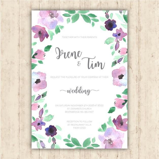 Invitation De Mariage Avec De Tendre Fleurs Peintes à La Main Vecteur gratuit
