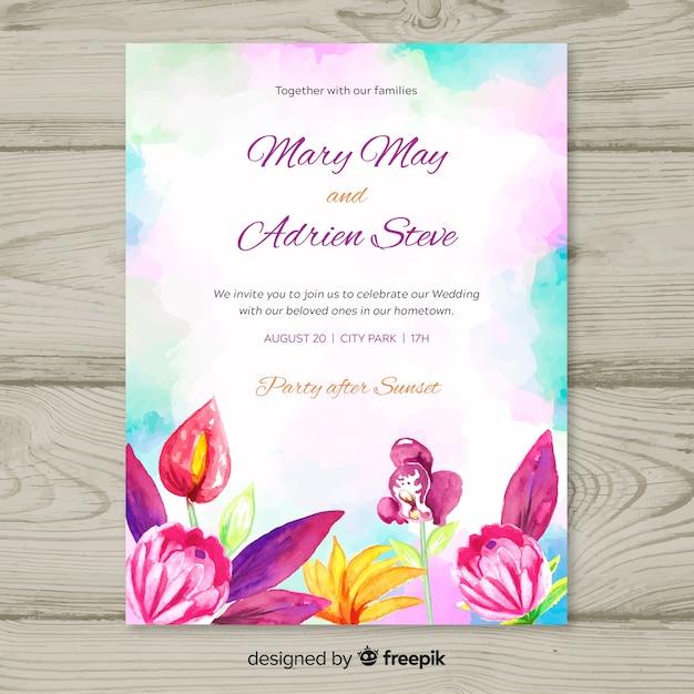 Invitation de mariage tropical aquarelle Vecteur gratuit