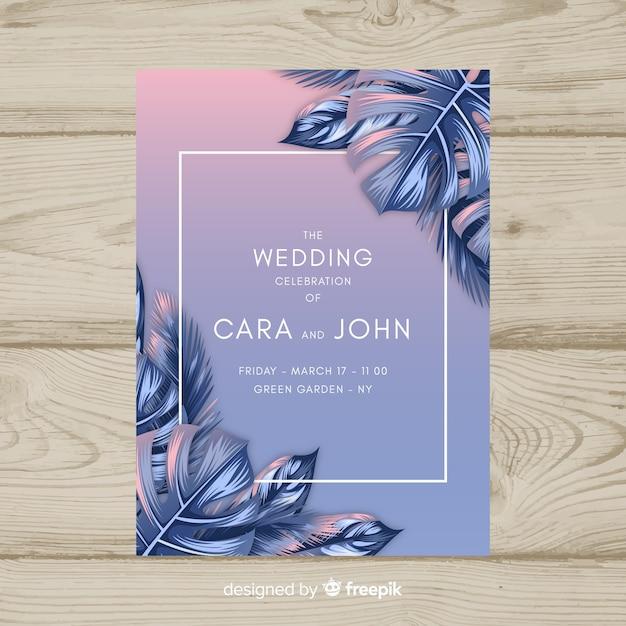 Invitation de mariage tropical Vecteur gratuit
