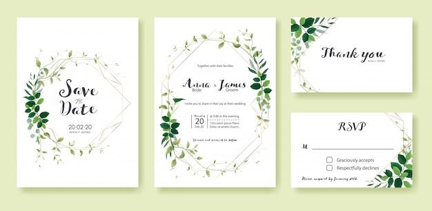 Invitation de mariage de verdure Vecteur Premium