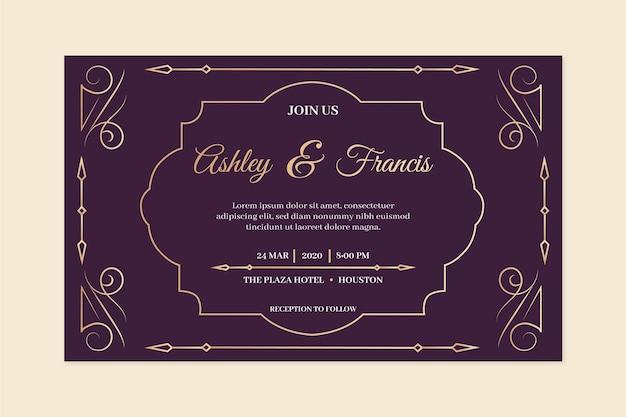 Invitation de mariage vintage dans les tons violets Vecteur gratuit