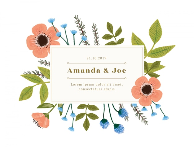 Invitation de mariage vintage avec des décorations florales Vecteur gratuit