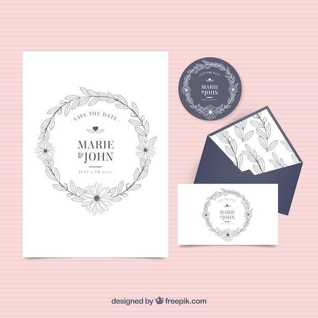Invitation De Mariage Vintage Avec Enveloppe Et étiquette Vecteur gratuit
