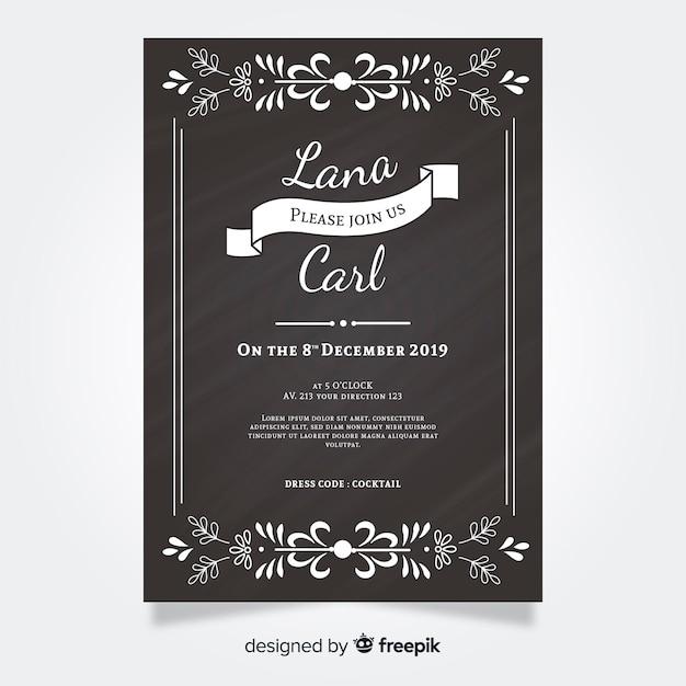 Invitation de mariage vintage sur tableau noir Vecteur gratuit