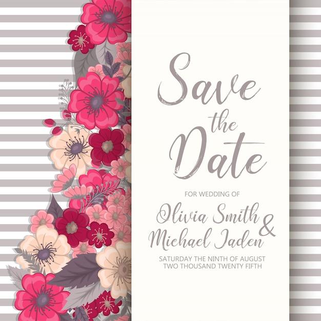 Invitation de mariage. Vecteur gratuit