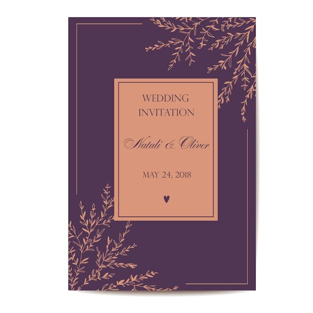 Invitation de mariage Vecteur Premium