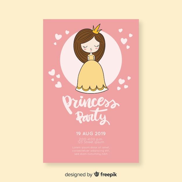 Invitation mignonne de fête de princesse Vecteur gratuit