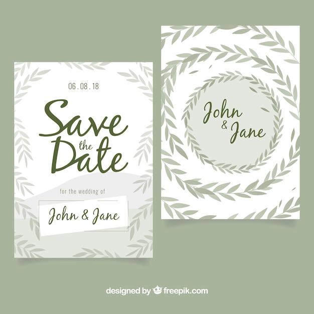 Invitation moderne de mariage avec des feuilles Vecteur gratuit