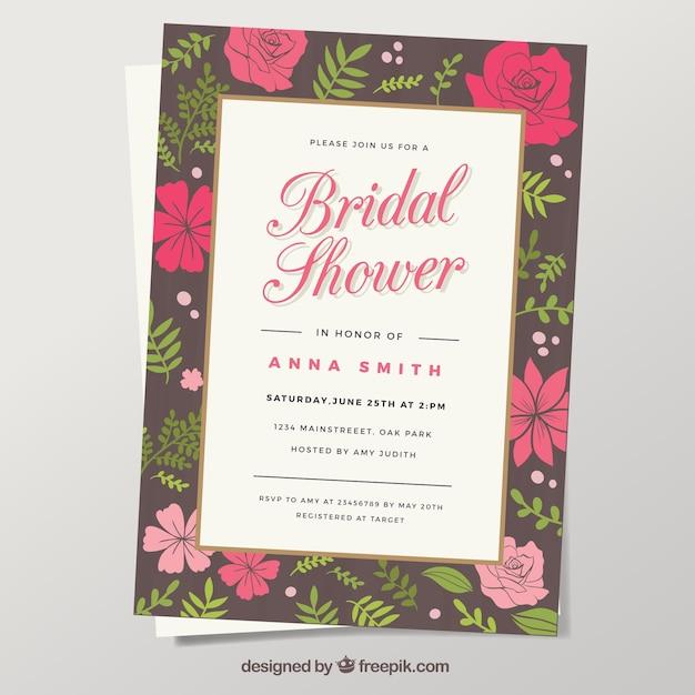 invitation nuptiale de douche avec des fleurs rouges et roses Vecteur gratuit