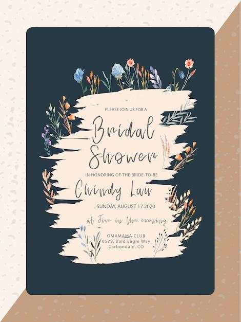 Invitation nuptiale de douche avec aquarelle de fleur sauvage Vecteur Premium