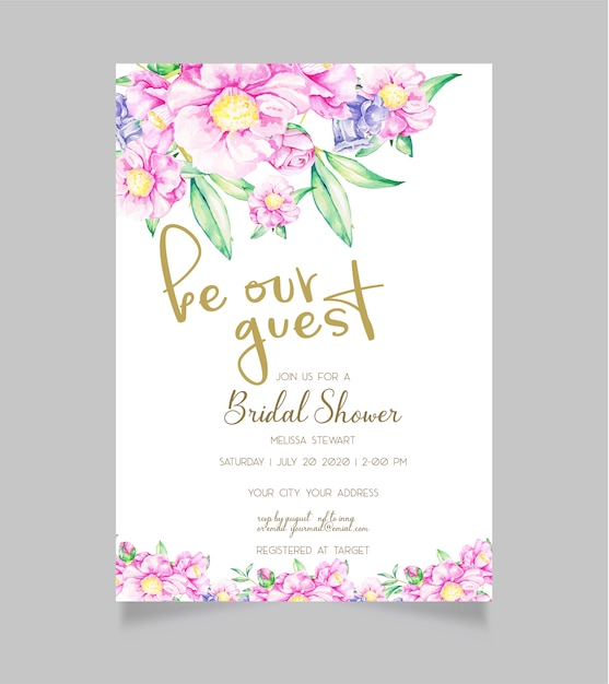 Invitation nuptiale de douche Vecteur Premium