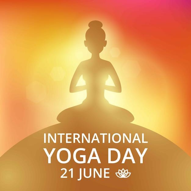 Invitation par affiches le jour du yoga 21 juin Vecteur Premium