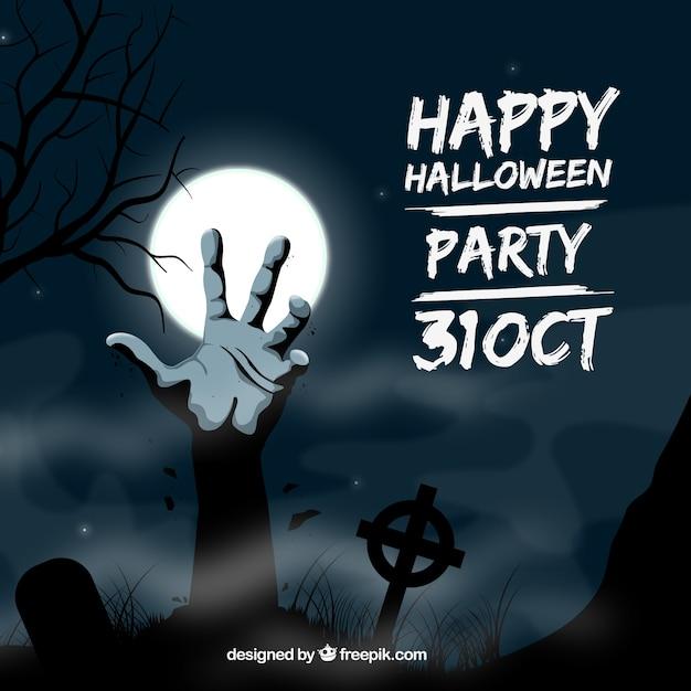 Invitation de partie de halloween avec une main de zombie Vecteur gratuit