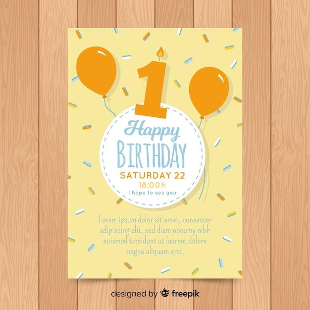 Invitation Premier Confetti D'anniversaire | Vecteur Gratuite