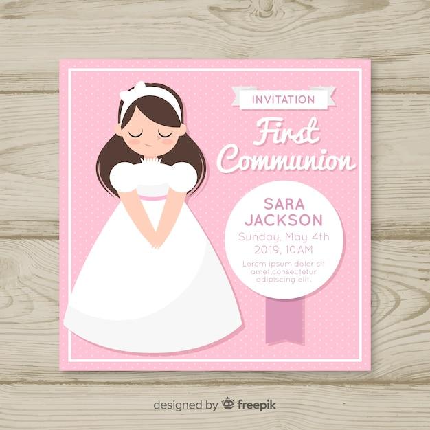 Invitation de première communion fille dessinée à la main Vecteur gratuit
