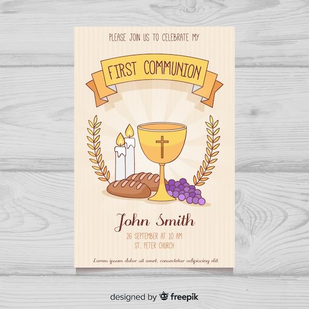 Invitation Des Premiers éléments De Communion Dessinés à La Main Vecteur gratuit