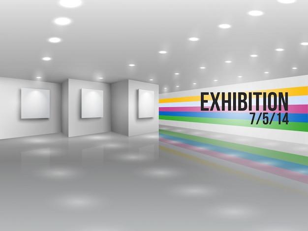 Invitation publicitaire pour une exposition Vecteur gratuit