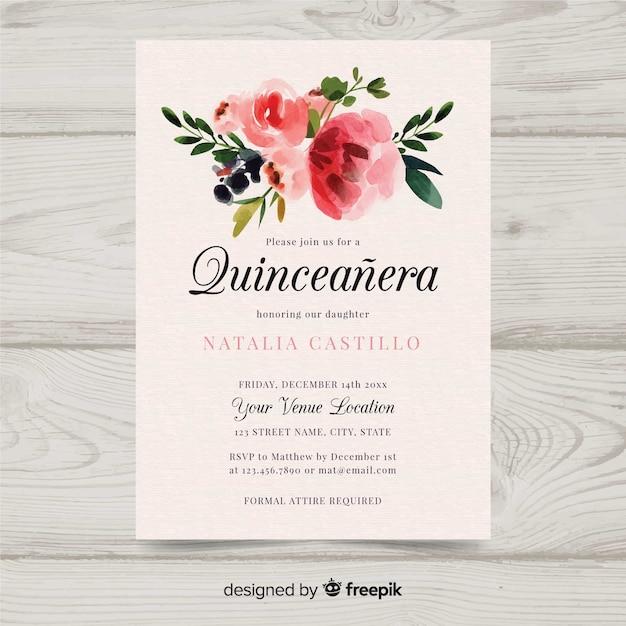 Invitation de quinceañera aquarelle Vecteur gratuit