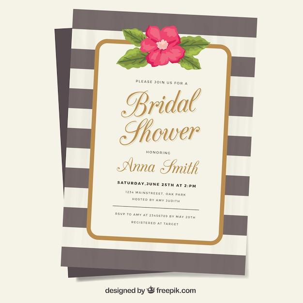 invitation rayée avec une fleur décorative pour douche nuptiale Vecteur gratuit