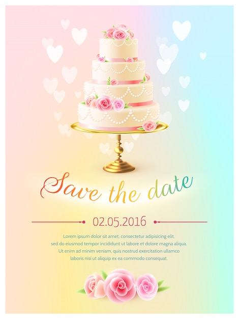Invitation réaliste de gâteau de carte de mariage Vecteur gratuit