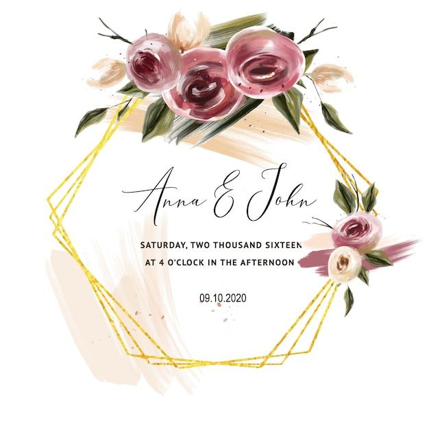 Invitation de roses de bourgogne pour des cartes de mariage, faites gagner la date Vecteur Premium