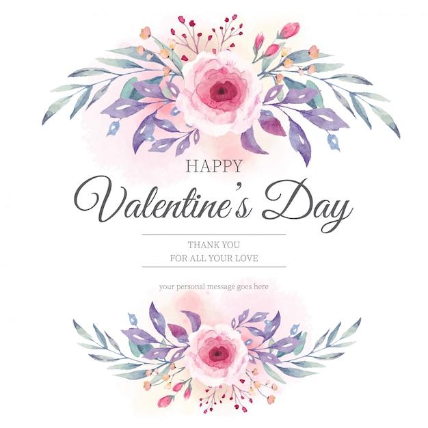 Invitation de la saint-valentin avec des fleurs à l'aquarelle Vecteur gratuit