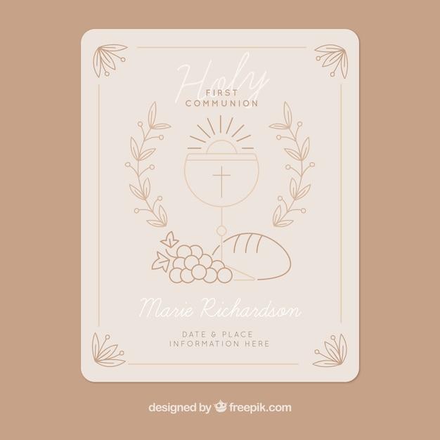 Invitation Vintage De Croquis De La Première Communion Vecteur gratuit