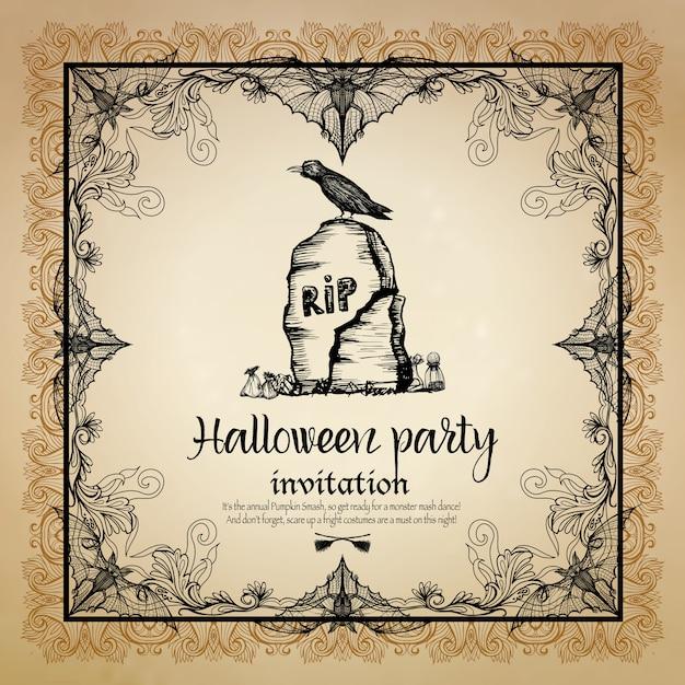 Invitation vintage halloween avec cadre Vecteur gratuit