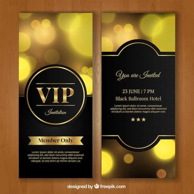 Invitation vip d'or Vecteur gratuit