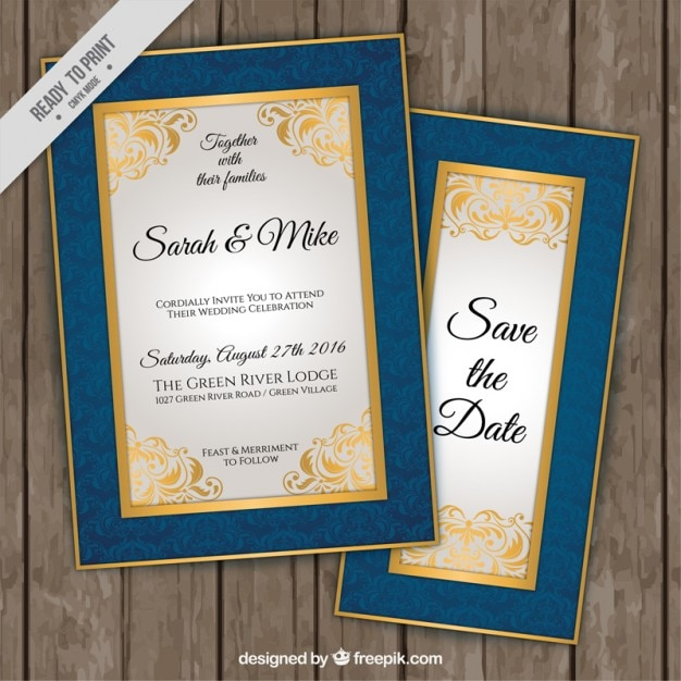 Invitations élégantes de mariage avec bordure bleue et dorée Vecteur gratuit
