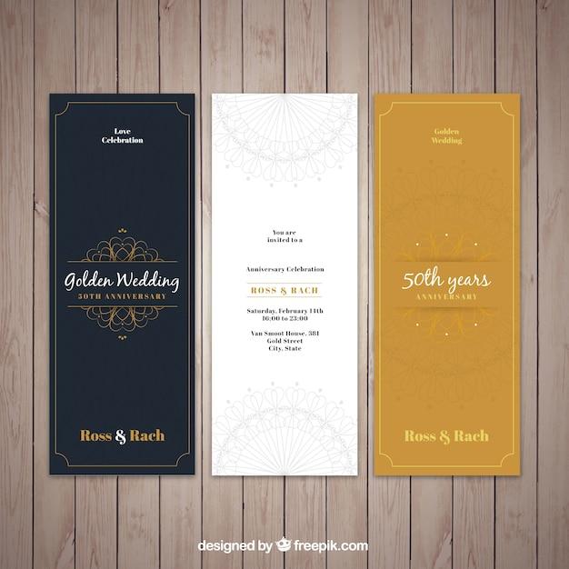 Invitations élégantes de mariage d'or Vecteur gratuit