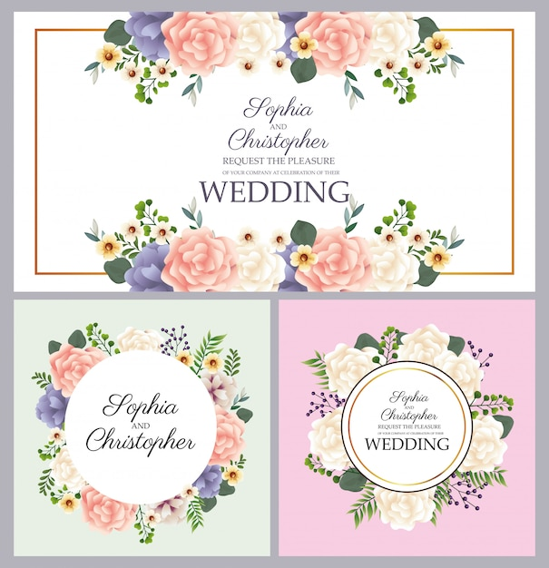 Invitations De Mariage Avec Des Cadres Circulaires Floraux Vecteur Premium