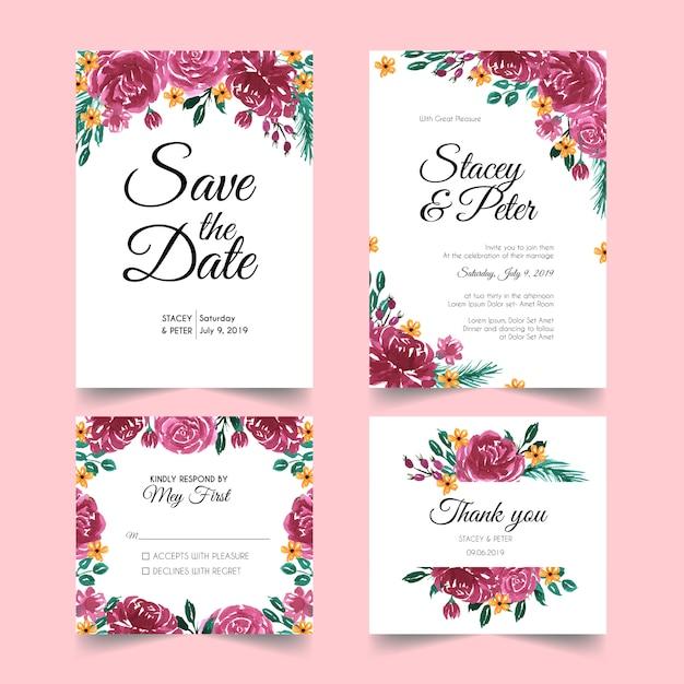 Invitations de mariage élégant moderne Vecteur Premium