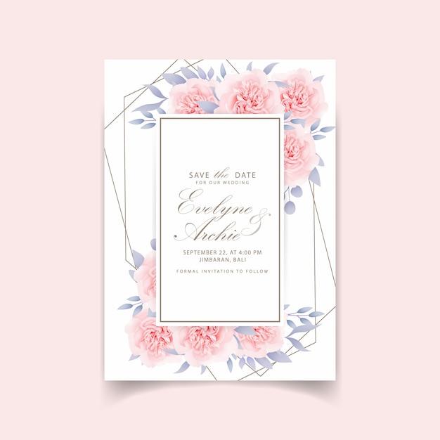 Invitations de mariage roses florales Vecteur Premium
