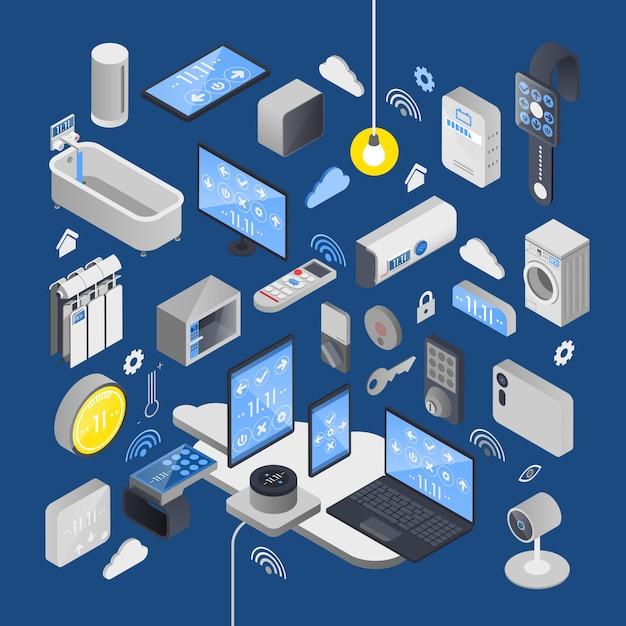 Iot internet of things composition isométrique Vecteur gratuit
