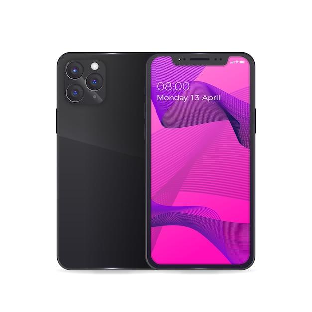 Iphone 11 réaliste avec étui à dos noir et lentilles Vecteur gratuit