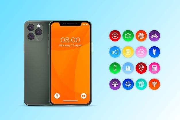 Iphone Avec Un Design Réaliste Des Applications Vecteur gratuit