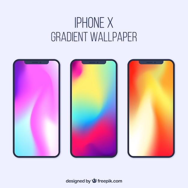 Iphone x collection avec fond d'écran dégradé Vecteur gratuit