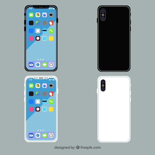 Iphone x design plat avec différentes vues Vecteur gratuit