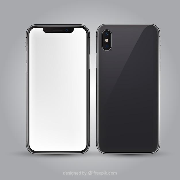Iphone x avec écran blanc dans un style réaliste Vecteur gratuit