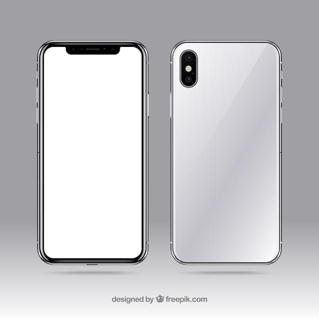 Iphone x avec écran blanc Vecteur gratuit