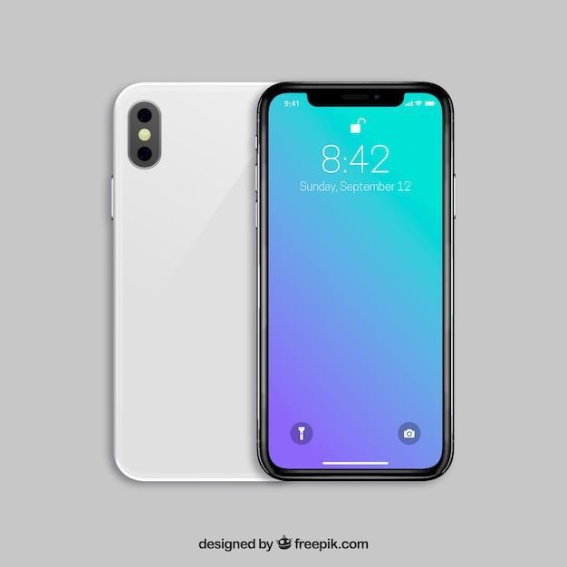 Iphone X Avec Fond D'écran Dégradé Vecteur Premium