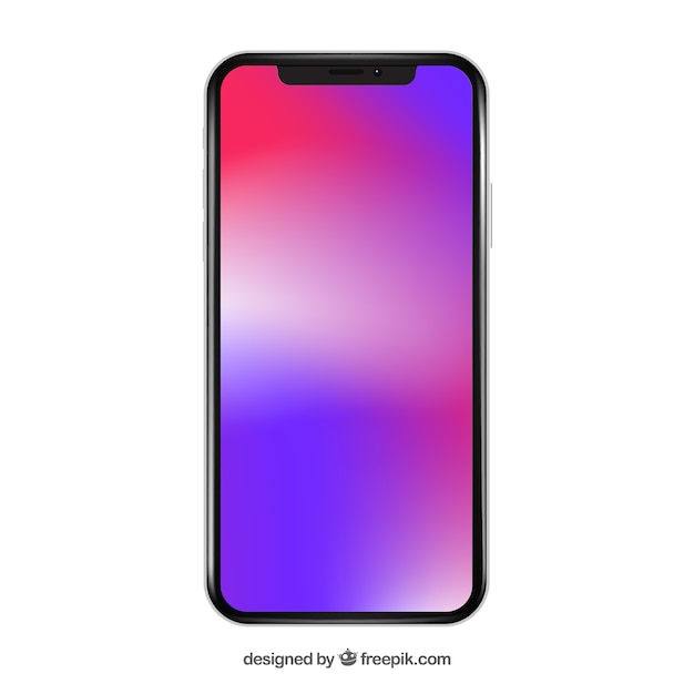 Iphone X Avec Fond D'écran Dégradé Vecteur gratuit
