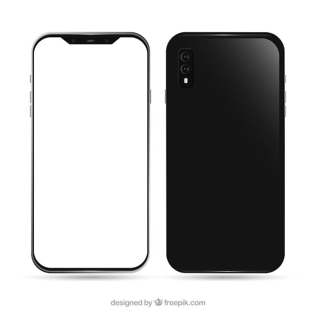 Iphone X Réaliste Avec écran Blanc Vecteur gratuit